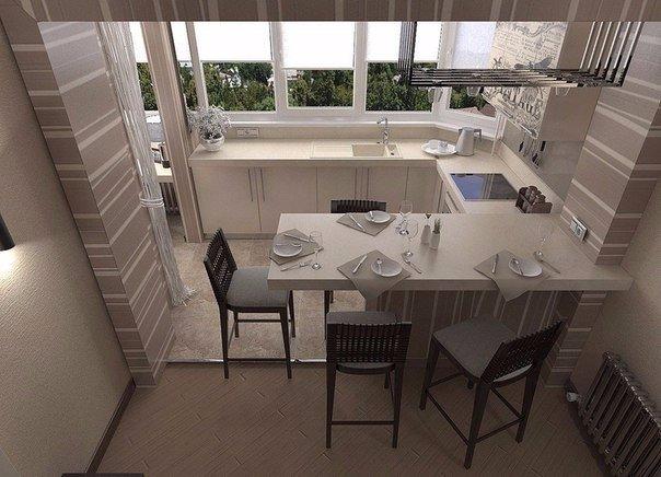 Кухня совмещенная с лоджией. Правильно используйте пространство в своей квартире… (1 фото) - картинка