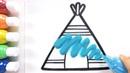 Tepee coloring drawing studying English for kids ㅣ 티피텐트 그리기 색칠하기 영어 공부