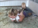 Dirty girl hogtied outside