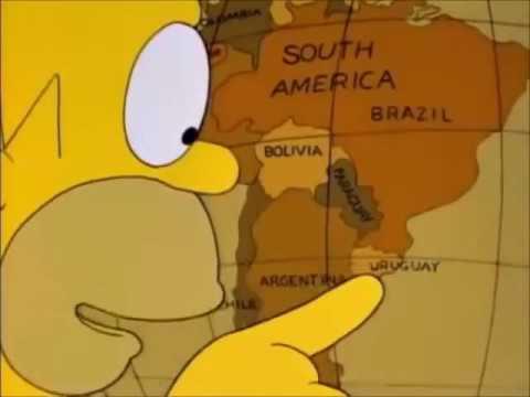 Россия - Уругвай. Гомер нашел Уругвай на глобусе, а ты ?