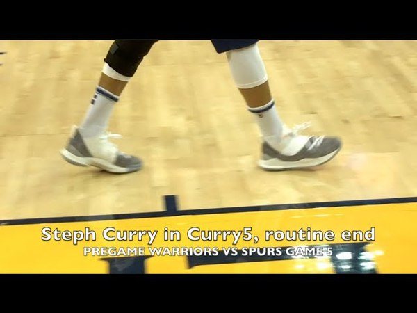 Close-up of Curry5 at Steph Curry's routine full-court heave from MCL rehab pregame, Game 5