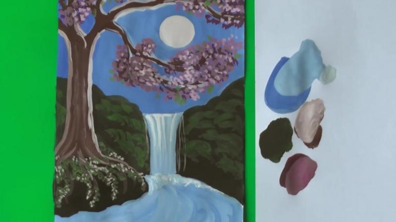 Как нарисовать пейзаж водопад гуашью
