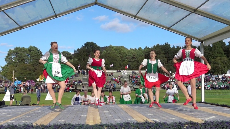 Braemar Gathering 2017 Highland Dancing competitions showing the Hullachan and Irish Jig