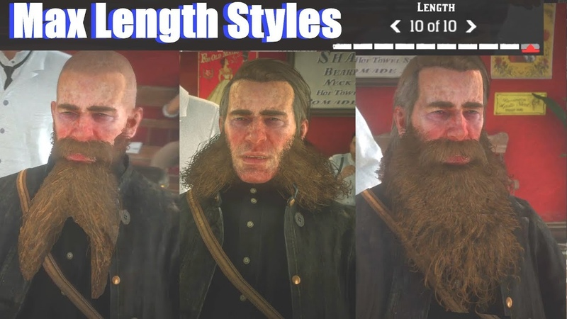 Red Dead Redemption 2 - All Max Length Beard Hairstyles (PS4 Pro)