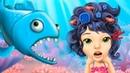 Мультики для девочек | Ужасная прическа с креветками у русалки | Пираньи напали в игре для детей