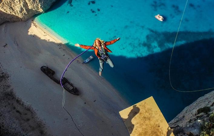 600 foot Insane Rope Swing over SHIPWRECK - in Greece in 4K!   DEVINSUPERTRAMP