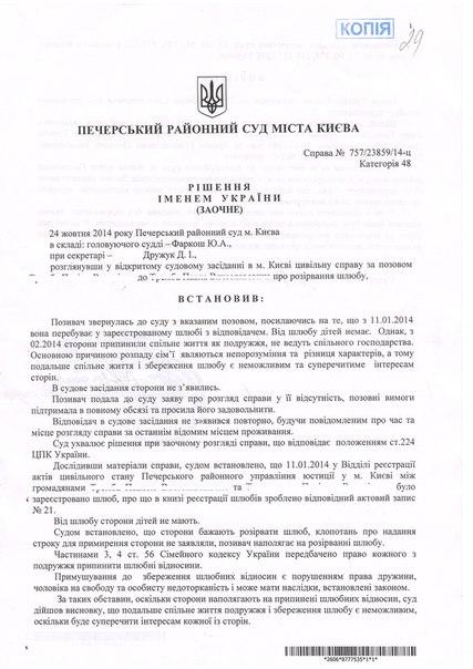 заявление о расторжении брака киев