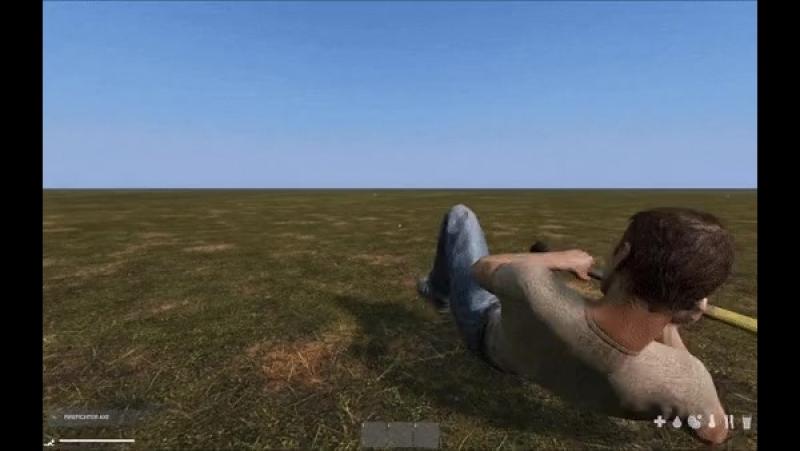 Новая анимация отползания на спине с топором - Бета DayZ Standalone