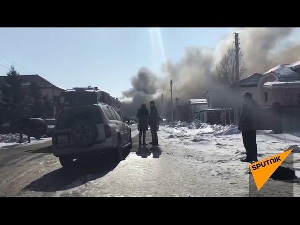 Пожар в микрорайоне Юго-Восток в Астане
