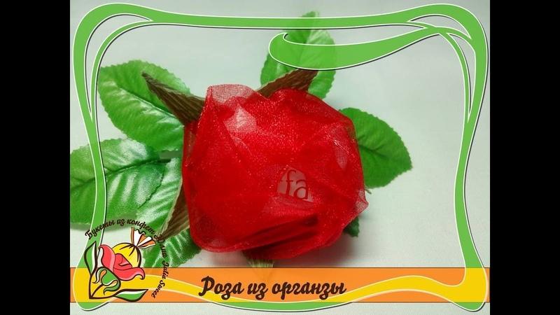 Как сделать розу из органзы с конфетой Raffaello