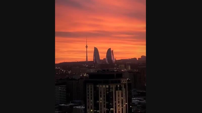 Невероятная красота во время заката в Баку😍🌆