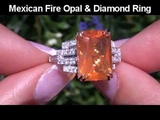 Rare Green Flash Mexican Fire Opal &amp Diamond Ring Set In Solid 14k Gold Must Be Sold Immediately