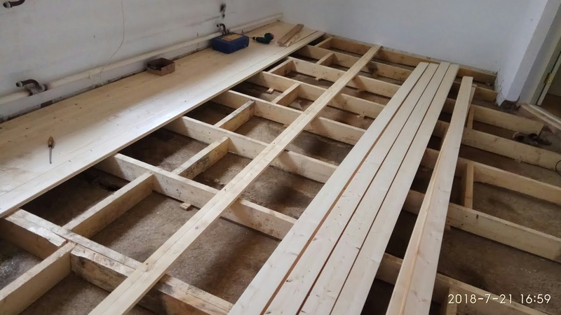Шпунтованная доска укладка, как прижать, стянуть доски с помощью домкрата!