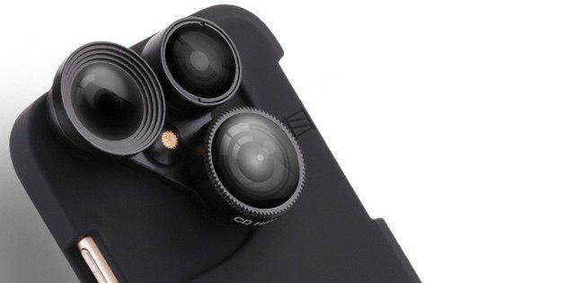 Чехол для iPhone с тремя встроенными объективами