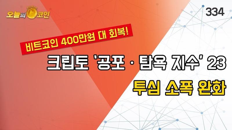 오늘의 코인 324회(181219) 크립토 '공포ㆍ탐욕 지수' 23 투심 소폭 완화