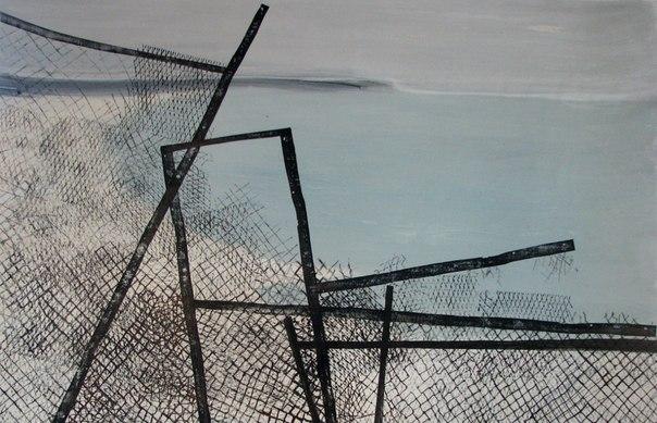 Альбіна Ялоза, із серії ВТРАЧЕНИЙ РАЙ, 2012, полотно, акрил, ліногравюра, 90х140