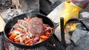 Cooking Outdoors at the Cabin: Steak and Fries on the Campfire