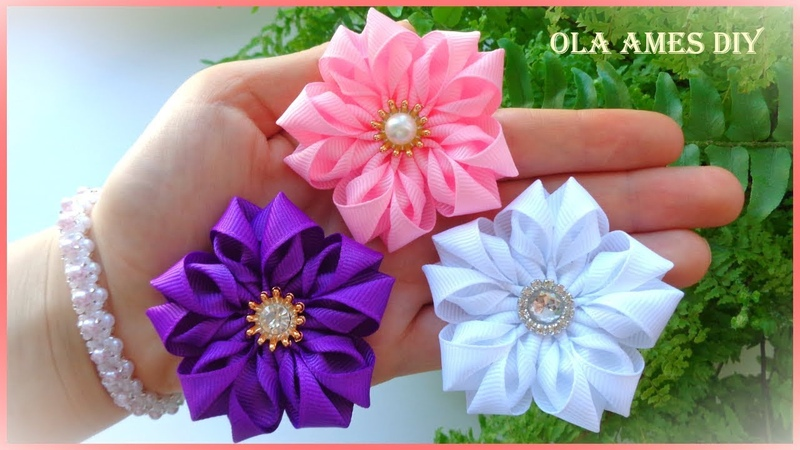 Канзаши/Цветы из репсовой ленты/Grosgrain Ribbon Flower/Flor de Fita de Gorgurão/Ola ames DIY