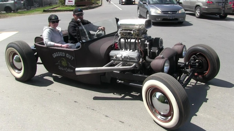 Street sound of Rat Rods Hot Rods and street machines accelerations and burnouts