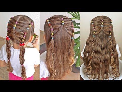 Penteado Infantil de borboleta com ligas coloridas, Maria Chiquinha e tranças