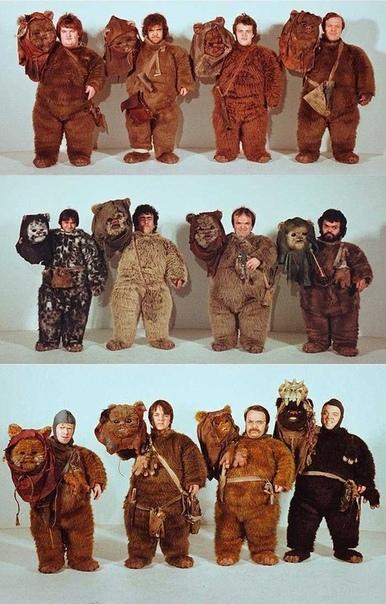 Актеры сыгравшие Эвоков в шестом эпизоде «Звездных войн: Возвращение джедая». 1983 год.