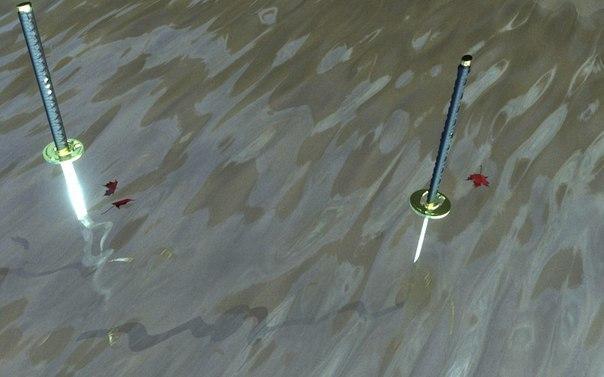 В ХIV веке в Японии жили два известнейших оружейных мастера Масамунэ и Мурамаса Однажды они устроили между собой поединок: вонзили по мечу, изготовленному ими, в дно маленького ручья, лезвиями