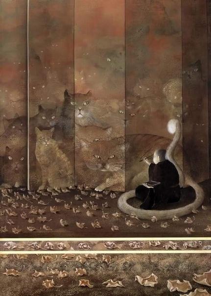 """Японская сказка """"Мальчик, рисующий котов"""", иллюстратор Фредерик Клемент."""