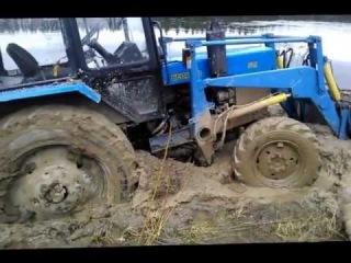 ДТ75 вытаскивает Белорус с реки