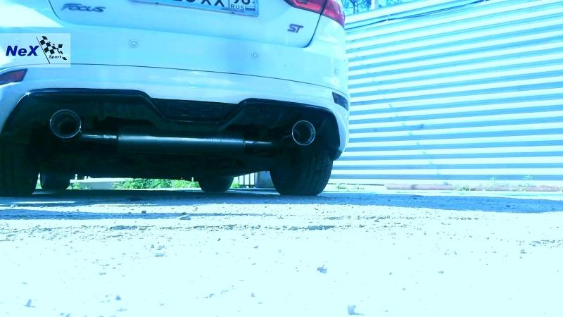 NeX® Ford Focus III Sedan.ЭКСКЛЮЗИВ! Звук V6-Style. Глушитель раздвоенный с насадками Ø 101 мм. Накладка Zetec S.