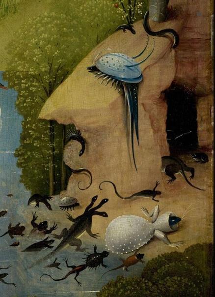 Сон разума: Великий Мастурбатор в плену земных инсинуаций, фрагмент триптиха. Существует мнение, что если внимательно присмотреться к левой створке босховского Сада земных наслаждений, то в