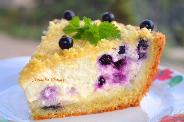 Пирог с черникой с творогом рецепт с фото пошагово