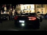 The ultimate hyper Aston Martin black One-77 at night in Monte Carlo Monaco