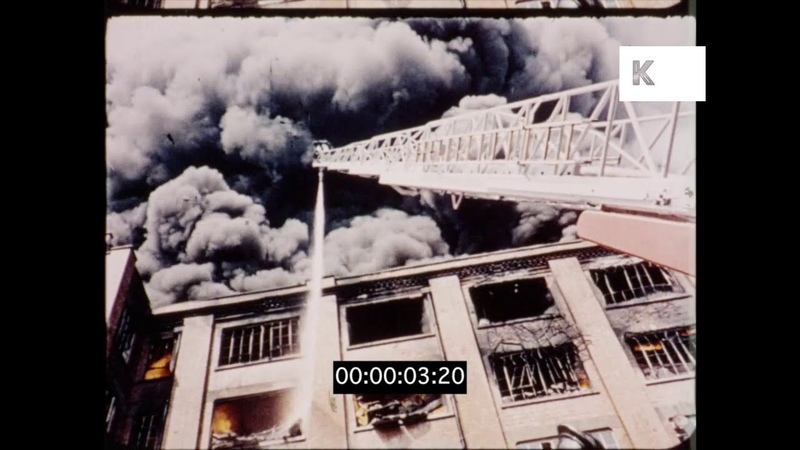 Building on Fire, Firefighters, 1950s, 1960s, UK from 16mm