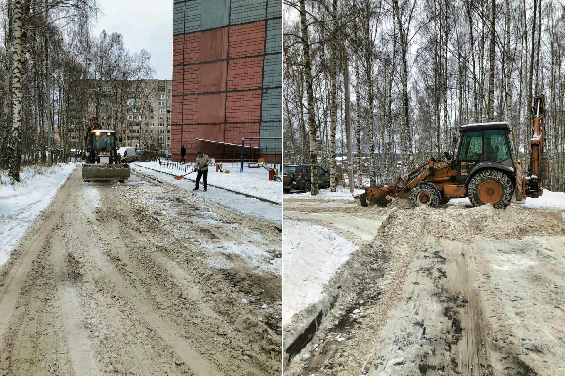 Очищаем снег в микрорайоне Северный