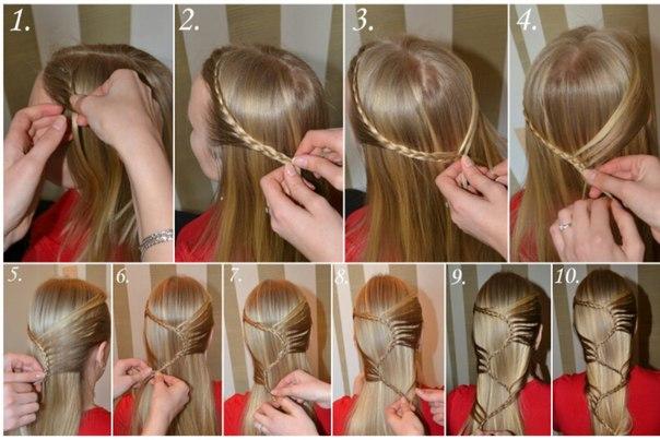 Прически на средние волосы за 5 минут в школу своими руками