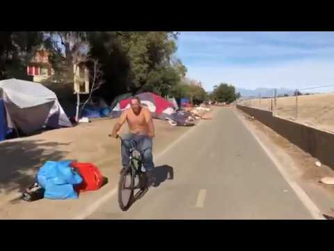 Шокирующее видео Города бомжей вдоль дорог Калифорнии