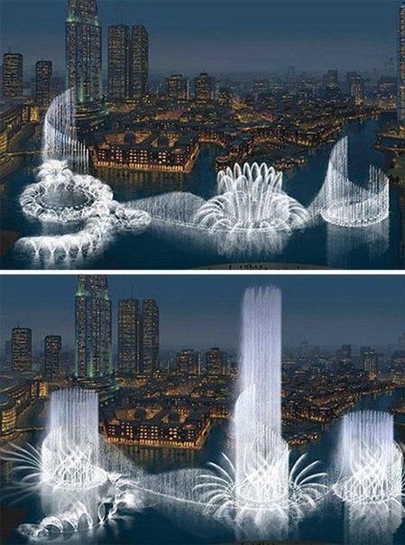 Самый большой и самый дорогой фонтан в мире находится в Дубаи. Длина фонтана 270 метров, струи воды бьют на высоту до 150 метров.