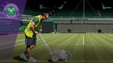 Painting the Centre Court lines for Wimbledon 2018
