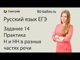 Русский язык ЕГЭ 2019. Задание 14. Практика. Н и НН в разных частях речи