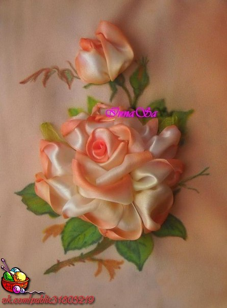 ✨ Вышиваем розу лентами ============================== ✂ #hand_made #сделай_сам #мастер_классы