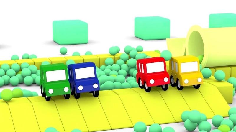 Dessin animé en français pour enfants de 4 voitures une piscine à balles
