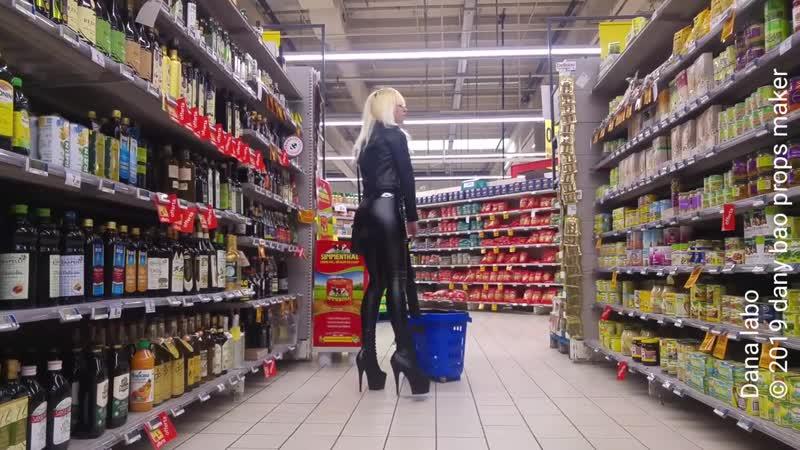DANA LABO walk in pvc latex leggings and mini leather boots