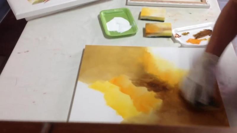 5 Pequena amostra de como pintar telas com esponja com Luiza Sartori .