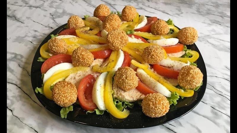 Легкий Салат с Сырными Шариками / Красивый Летний Салат-Закуска / Light Summer Salad