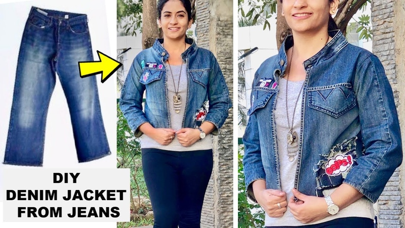 DIY: Full Sleeve Denim Jacket from Old Jeans   Coolest Girls Jacket from Jeans