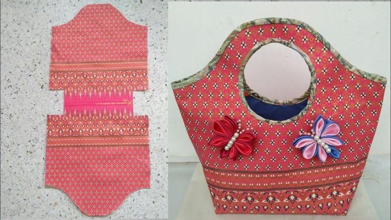 DIY Thai cloth bag basket shape Tutorial great for beginner คลิปสั้น รัชนี งานผ้า handmade