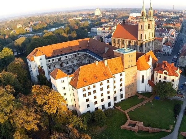Zamek Piastów Śląskich w Brzegu z lotu ptaka
