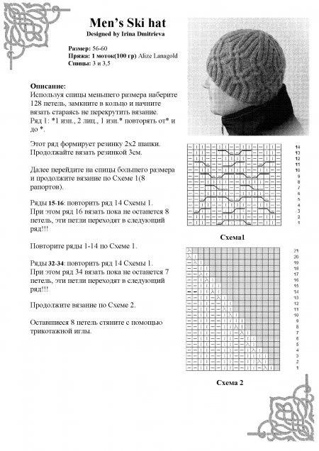 Мужские вязаные шапки своими руками со схемами