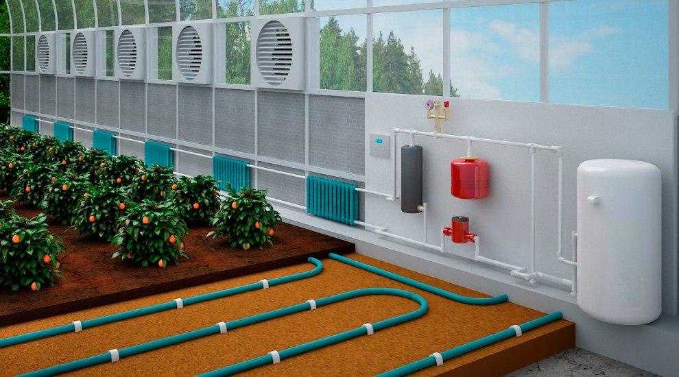 Фото и схемы отопление теплицы
