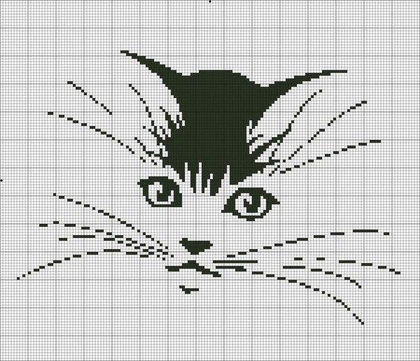 Вышивка крестом коты монохром схемы